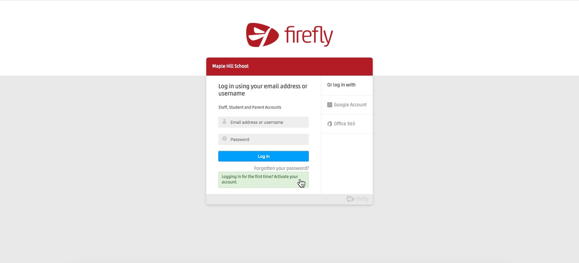 Logging in - Firefly Help Centre